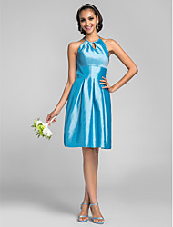 Knee-length Taffeta Bridesmaid Dress - Pool Apple/Hourglass/Inverted Triangle/Pear/Rectangle/Plus Sizes/Petite/Misses A-line High Neck