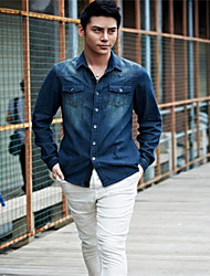 Men'S Denim Fasion Designed Shirt