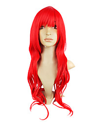 Capless Top Grade Synthetic Red Wavy Long Hair Wigs