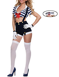Cosplay Costumes Uniforms Festival/Holiday Halloween Costumes White & Blue Striped Dress / Gloves / Hat Female Polyester