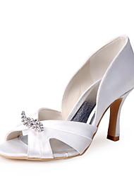 Bom gosto Cetim Peep Toe Pumps branco com strass sapatos de casamento
