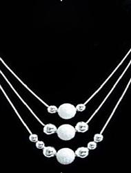 Brass Silver Fashion plateado con cuentas collar Tri-Chain