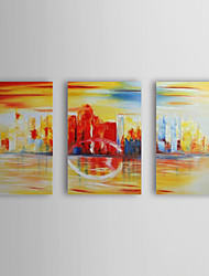 Hand Painted Oil Painting Abstract City with Stretched Frame Set of 3 1309-AB0998