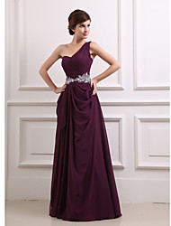 Qiandu Gorgeous Asymmetrical Shoulder Beads Floor-Length Dress(Partten and Beads Randomly)