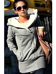 Women's Grey/Black Hoodies,Casual Hooded Long Sleeve Zipper