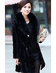 Long Sleeve Shawl Collar Faux Fur Party/Casual Coat(More Colors)