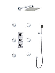 Wall Mount Rainfall Contemporary Chrome Shower Set with Bodysprays
