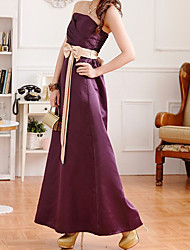 Women's Party/Cocktail A Line Dress,Color Block Strapless Maxi Sleeveless Red / Purple / Gold Silk All Seasons