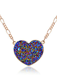 Lureme Volcanic Surface Heart Shape Pendant Necklace