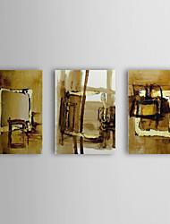 Pintado à Mão Pintura a óleo com moldura abstracta esticado Conjunto de 3 1309-AB0974