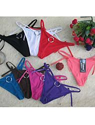 Damen Ultra Sexy Buckle Schwimmen Stoff G-Strings (3/Paket Abgestimmte zufällig)