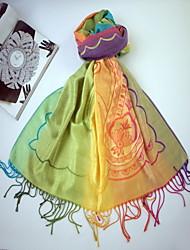 Qing Yu Colorful Rainbow Tassel Elegance Simple Scarf