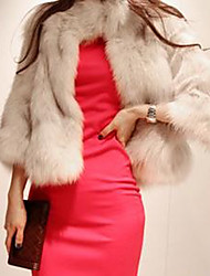 Lunga Faux Fur tre quarti sleever Jacket