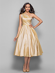 Cocktail Party / Homecoming / Prom Dress - Plus Size / Petite A-line / Princess One Shoulder Tea-length Taffeta