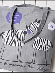 LAKE Women's Cartoon Two Zebras Letters Canvas Handbag Purple