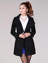 Slim stand Collar manteau à double boutonnage de FFYS femmes (noir)