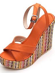 Bon goût PU Peep Toe Sandales Compensées avec boucle Casual Shoes (plus de couleurs)