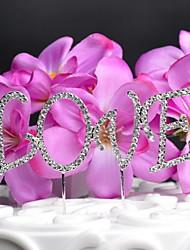 Cake Topper Non-personalized Monogram Anniversary / Wedding Rhinestone Silver OPP