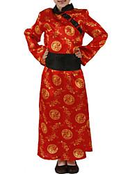 Caçoa a menina Red bordado vestido antigo traje chinês