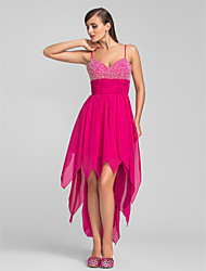 A-Line Spaghetti Straps Asymmetrical Chiffon Cocktail Party Prom Dress with Beading Ruching Cascading Ruffles by TS Couture®