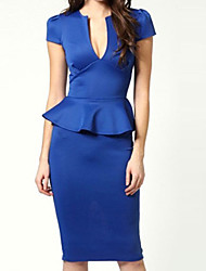 Women's Work / Party / Sexy / Bodycon Solid Sheath Dress , Halter Knee-length Polyester