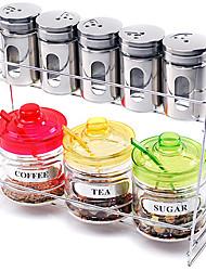 Cozinha Vidro Galheta Set (Conjunto de 9: 1pc Rack, 5pcs Shaker, 1pc Pot Açúcar, 1pc Coffee & Pot Pot chá 1pc com colher e tampa)