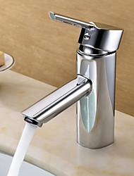 saupoudrer ® par LightInTheBox - contemporain finition chromée mitigeur en laiton lavabo robinet