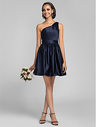 Lanting Short/Mini Satin Bridesmaid Dress - Dark Navy Plus Sizes / Petite A-line / Princess One Shoulder