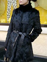 Long Sleeve Standing Collar Rabbit Fur Party/Casual Coat