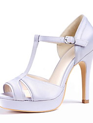 Tasteful Satin Peep Toe Silver Gray Sandals with Buckle Wedding Shoes