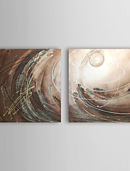Hand Painted Oil Painting Abstract Circles with Stretched Frame Set of 2 1309-AB0868