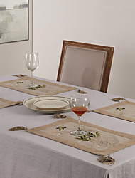 Green Linen Rectangular Placemats