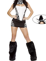 Furry Leg Warmer Zebra Pattern Women's Halloween Costume