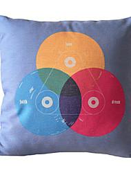 """18"""" Square Unique CD Cotton/Linen Decorative Pillow Cover"""