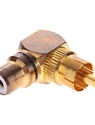 RCA macho a hembra adaptador de AV de 90 grados bañados en oro
