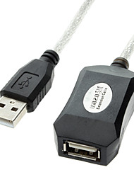 USB 2.0 Male to Female Extension Data Cable with Chip Silver Black(5M)
