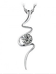 Нежный стерлингового серебра семена дыни цепь с кривая в виде ожерелья Rhinestone для женщин