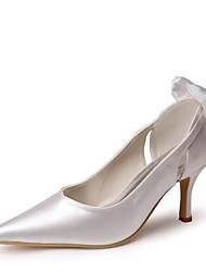 Bom gosto cetim Pointy Pumps Toe com Bowknot e Ruffle Wedding Shoes