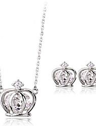 Di alta qualità in lega di platino placcato con Crystal Crown Necklace & Earrings Jewelry Set