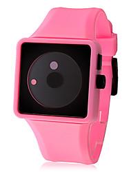 Frauen kreative Zwei-Punkt-Zifferblatt Silikonband Quarz Analog Armbanduhr (pink)