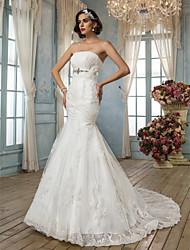 Lanting Bride Trumpet/Mermaid Petite Wedding Dress-Court Train Strapless Lace / Satin