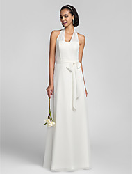 Lanting Floor-length Chiffon Bridesmaid Dress - Ivory Plus Sizes / Petite Sheath/Column Halter