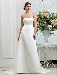 LAN TING BRIDE A-line Wedding Dress - Classic & Timeless Glamorous & Dramatic Simply Sublime Sweep / Brush Train Strapless Satin with