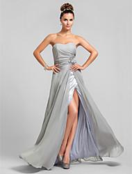 Hasta el Suelo Raso Vestido de Dama de Honor Funda / Columna Corazón Talla Grande / Pequeña conCuentas / Flor(es) / Frontal Abierto /