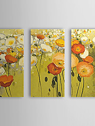 Hand Painted Oil Painting Floral Popies with Stretched Frame Set of 3 1309C-FL0842