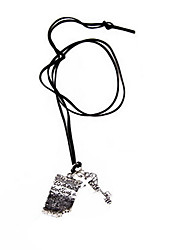 Korean version of the English books stationery cross key pendant leather cord necklace (random color)