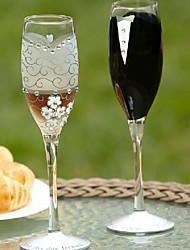 """Bride And Groom"" Design Champagne Toasting Flutes"