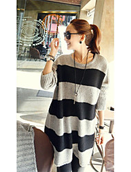Women's Gray Round Collar Loose Stripe Sweater
