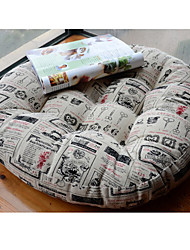 Novelty Newspaper Design Linen Round Chair Pad