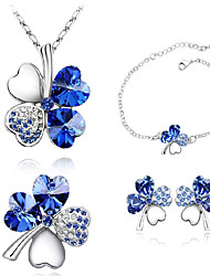 Z&X® women's Austrian Four-leaved Clover crystal Jewelry Set(earrings & necklace & bracelet)
